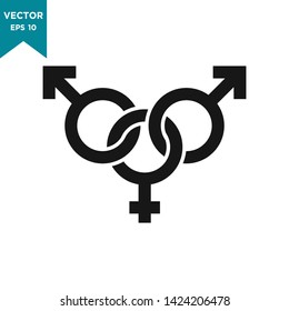 gender icon in trendy flat design, bisexual vector icon