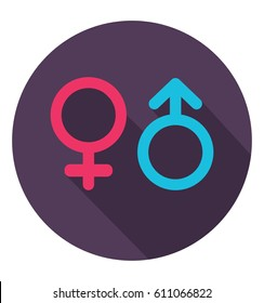 Gender icon in trendy flat style. Symbols of men and women. Flat design in stylish colors. Isolated. Long Shadow. Simple circle icon. EPS10.
