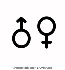 Gender icon vector or male and female flat isolated