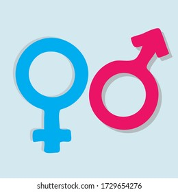 Gender icon vector or male and female flat sign symbols pink and blue