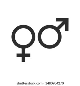 gender icon vector sign isolated on white background. gender symbol template color editable