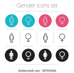 Gender icons set. Lady and gentleman restroom sign. Wc man and woman body shape symbols. Boy and girl silhouette. People pictograms. Contour line male and female vector illustrations isolated on white