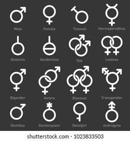 Gender Icons Set on Dark Background. Vector