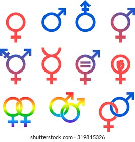 Gender Icons. Set of vector graphic images representing the universal symbols for gender and sexuality.