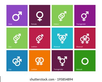 Gender identities icons on color background. Vector illustration.