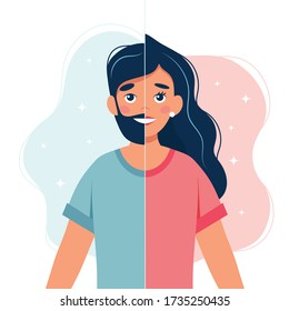 Gender identity concept. Gender transition. Person with half woman and half man face. Vector illustration in flat style