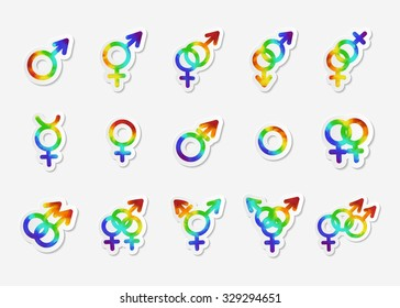 Gender identity icon set. Bisexual, female, gay, hetero, intersex, lesbian, male, non-binary, transgender, homosexual, transsexual, asexual symbol. Sticker with watercolor effect. Vector illustration.