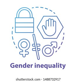 Gender inequality concept icon. Sex discrimination idea thin line illustration. Unequal female and male rights. Sexism. Empowerment of women. Vector isolated outline drawing