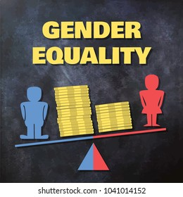 Gender inequality concept illustration - male and female figures standing on a tilted scale with piles of coins
