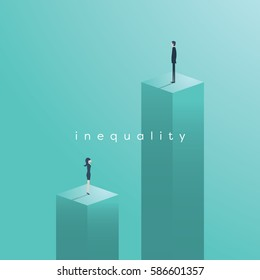 Gender inequality issues concept vector illustration. Businessman and businesswoman at different levels in corporate business regarding salary, wage, position, opportunities. Eps10 vector illustration