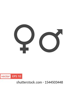 Gender. Man and Woman icon template color editable. Male and Female symbol vector sign isolated on white background illustration for graphic and web design.