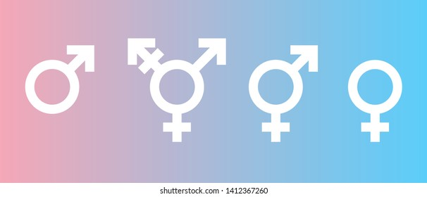 Gender marks. Man, woman, shemale. Icons and signs LGBT community. Flag of transgender. Official symbols of the community. Against discrimination