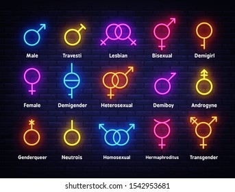 Gender neon icons set. Sexual orientation concept, collection light signs. Sign boards, light banner. Neon isolated icon, emblem, design template. Vector Illustration