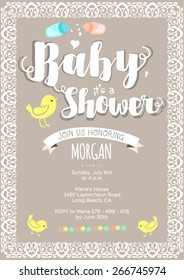 Gender neutral baby shower invitation: layout and vector illustration with birds, calligraphic text, ribbons, ornaments, stars, text. Neutral colors: light grey, white and yellow.