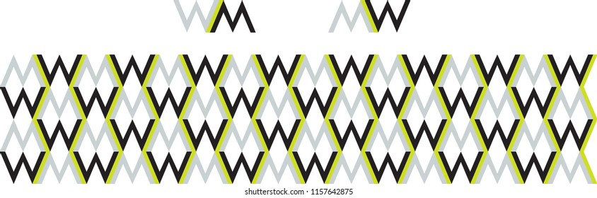 Gender neutral icon and seamless border pattern in grey black and green