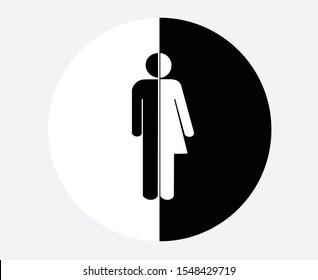 Gender neutral icon. unisex gender restroom or toilet sign, transgender gender symbols,  vector illustration.