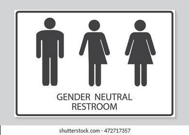 Gender neutral restroom sign illustration