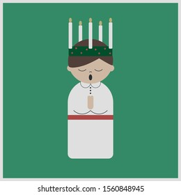 Gender neutral Saint Lucy at Christmas, vector
