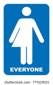 Gender neutral sign. Transgender restroom sign. Vector illustration. Blue symbol isolated on white. Mandatory banner. Toilet for everyone