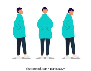 Gender neutrality people, unisex, gender neutral clothing, hairstyle. A young girl, a young guy, pants and sneakers, isolated on a white background. Universal clothing and hairstyle unisex. Vector
