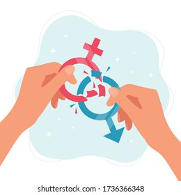 Gender norms concept. Hands holding gender symbols breaking in pieces. Vector illustration in flat style