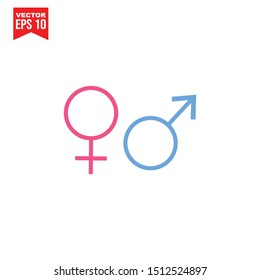 gender pink and blue icon vector on white background editable. Male and Female gender symbol. Man Woman sign Simple logo vector illustration for graphic and web design.