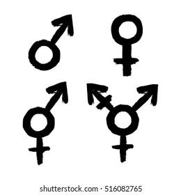 Gender related icon set. Female, male, LGBT, transgender, intersex symbols on white background. Vector illustration.