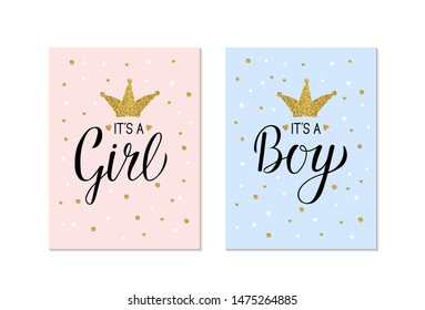 Gender Reveal banners It's a Girl and It's a Boy. Calligraphy lettering with gold glitter crown and confetti. Vector template for Baby shower party decoration, invitation, announcement ,  poster, etc.