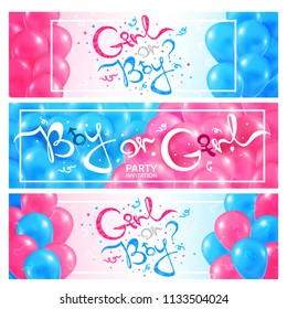 Gender reveal, girl or boy patry invitation, three vector banners