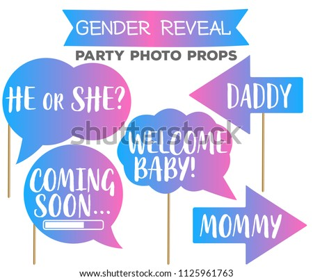 Gender Reveal Gradient Party Photo Booth Stock Vector Royalty Free