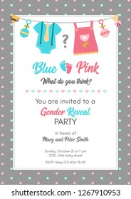 Gender reveal invitation template. Baby shower party. Boy or girl. Blue or pink. Graphic design for postcard, banner, invite card, poster. Vector illustration.