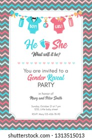Gender reveal invitation template. Baby shower party. Boy or girl? Blue or pink? Graphic design for postcard, banner, invite card, poster. Vector illustration.