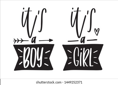 Gender reveal lettering clipart. It's a boy, girl banner, heart, arrow hand-drawn clip art. Vector calligraphy for announcements, cards, t-shirts.