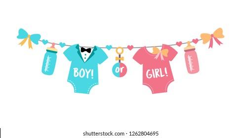 Gender reveal party. Baby shower celebration. Boy or girl? Blue or pink? Vector illustration for invitation, card, banner.