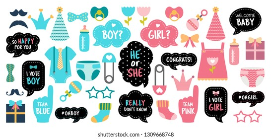 Gender reveal party. Baby shower photo booth props. Boy or girl Blue or pink Vector photobooth set: speech bubbles, bottle, nippel, bib, rattle. Iillustrations for invitation, card, banner.