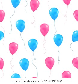 Gender reveal party background. Ornate vector seamless pattern with flying helium balls pink and blue color