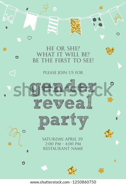 Gender Reveal Party Invitation Card Vector Stock Vector (Royalty ...
