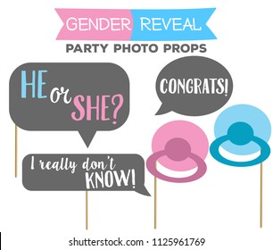 Gender reveal party photo booth props on sticks. He or she, congrats signs.