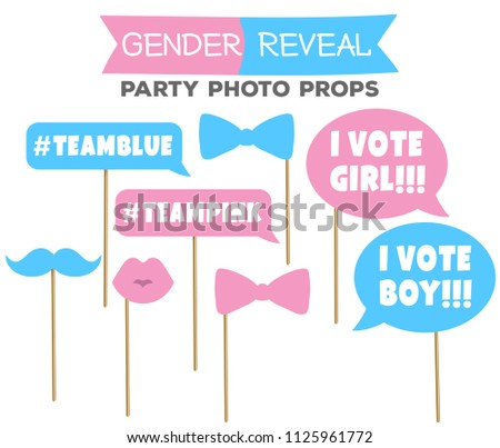 Gender Reveal Party Photo Booth Props Stock Vector Royalty Free