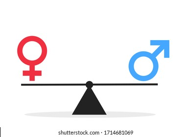 Gender and sexual equality - male and female sex symbol are balanced on weight and scale. Neutrality between man and woman, girl and boy. Vector illustration isolated on white.