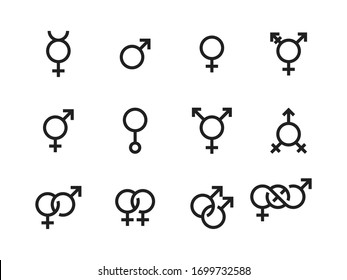 Gender and sexual identity vector icons