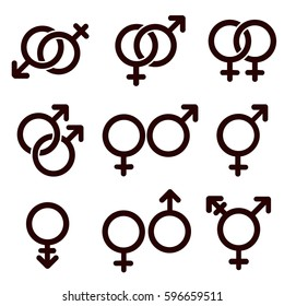 Gender and sexual orientation icon set. Vector illustration.