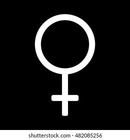 Gender sign mirror of Venus. Female monochrome symbol isolated on black background. Abstract plane mark with women sex icon. Goddess concept. Romantic silhouette. Stock VECTOR illustration