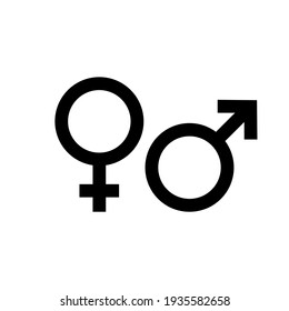 Gender symbol. Female and male icon. Man and woman sign. Vector EPS 10. Isolated on white background