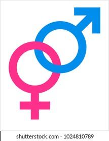Gender Symbol Icon, Male Female Biological Sex Symbol Icon Vector Art Illustration