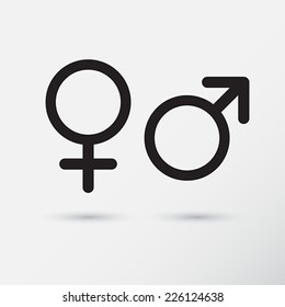Gender symbol icons.  Vector Illustration.