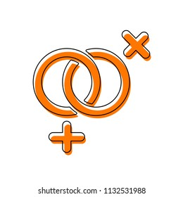 gender symbol. linear symbol. simple lesbian icon. Isolated icon consisting of black thin contour and orange moved filling on different layers. White background
