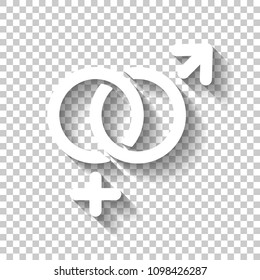 gender symbol. linear symbol. simple men and women icon. White icon with shadow on transparent background