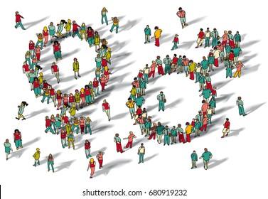 Gender symbol man and woman groups. Color vector illustration. EPS8