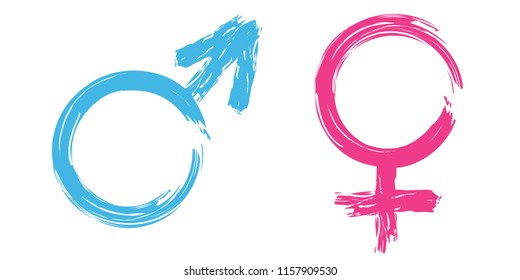 Gender symbol pink and blue hand writing vector.male , female,boy, girl, man, woman icons. Feminine and masculine signs. Grunge painted style.